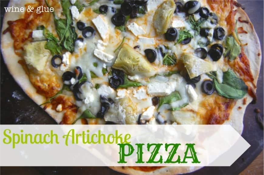 Spinach Artichoke Pizza | www.wineandglue.com