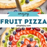 pinterest graphic of fruit pizza dessert