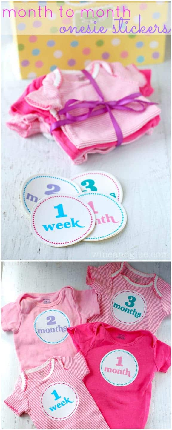 Month to Month Onesie Stickers | www.wineandglue.com | Onesie stickers for the month to month baby pictures!  Perfect for a shower gift!