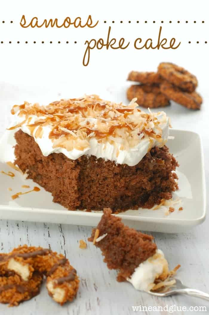 This poke cake inspired by Samoas Girl Scout Cookies is my new favorite! Totally irresistible!