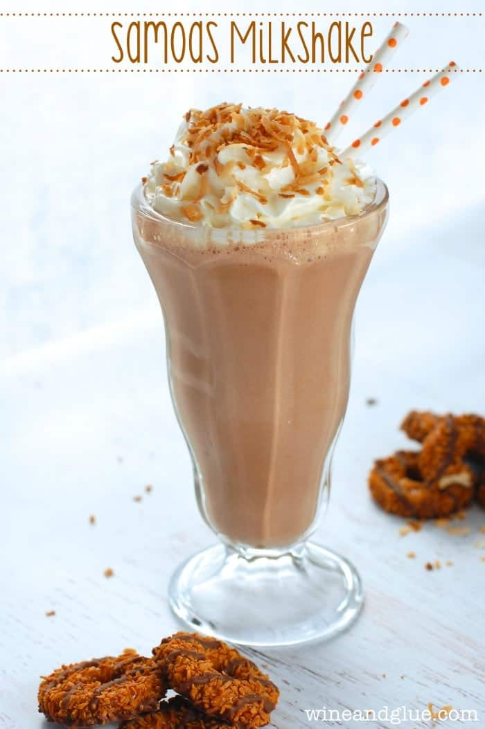 Samoa Milkshake | www.wineandglue.com | A really easy milkshake inspired by a Girl Scout Cookie favorite!