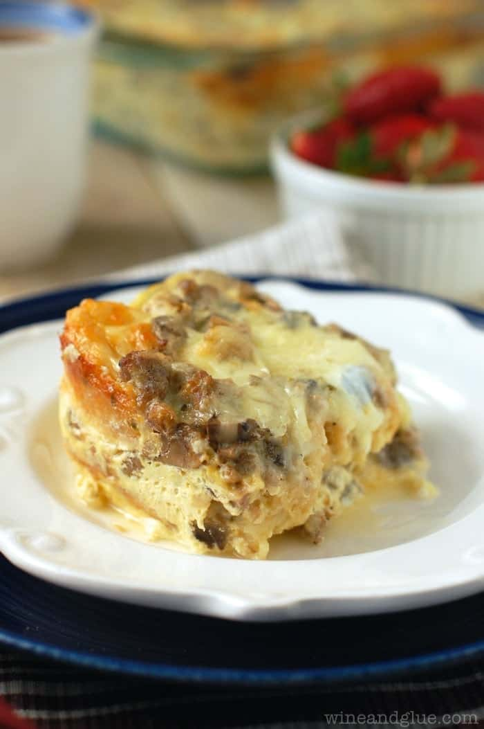 Sausage and Mushroom Overnight Breakfast Strata | www.wineandglue.com | The BEST breakfast casserole!  Sure to be a crowd pleaser!