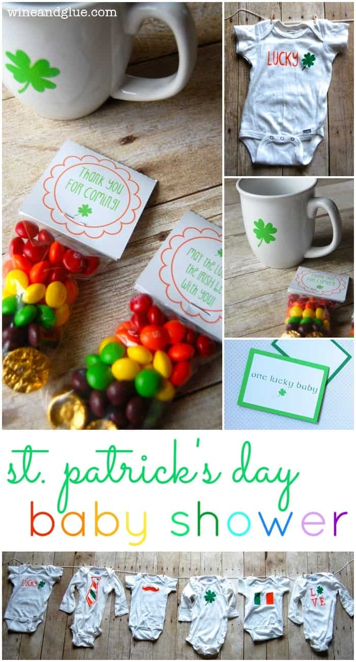 St Patricks Day Baby Shower | www.wineandglue.com | Cute ideas for a St. Patty's themed baby shower!