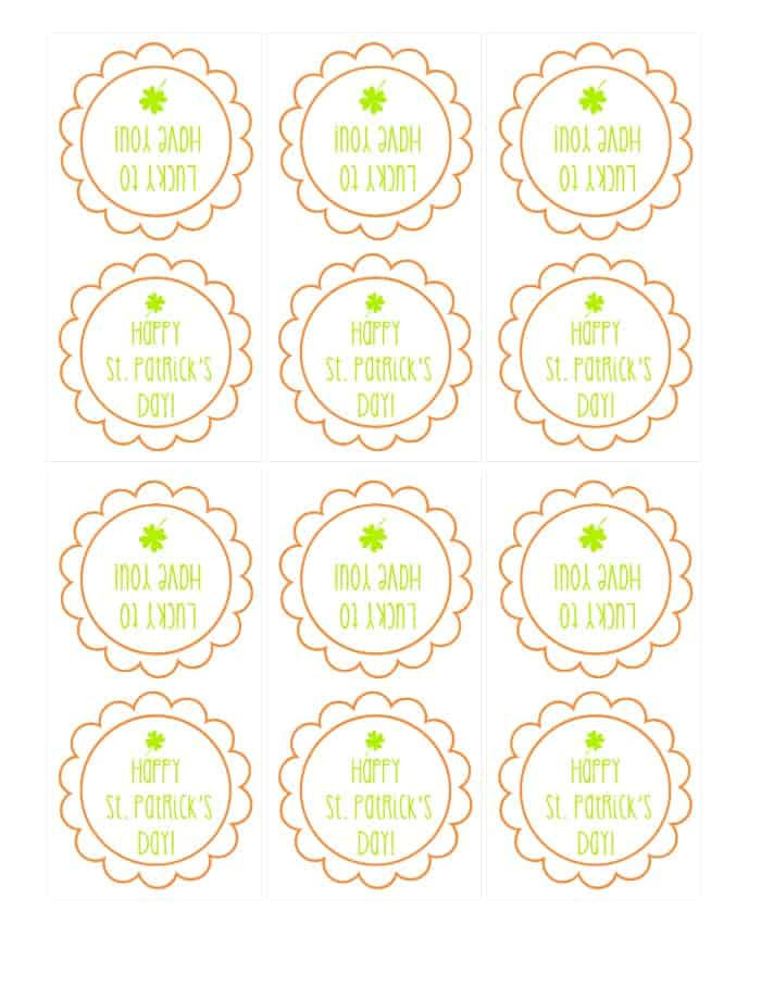 St Patricks Printable | www.wineandglue.com | Super cute printable bag topper for St. Patrick's Day treats!