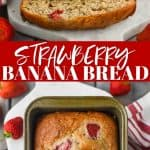 collage of photos of strawberry banana bread