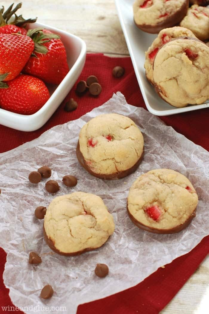 Soft & delicious cookies packed with fresh strawberries and dipped in chocolate!
