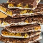 a pile of eight pieces of s'mores bark recipe