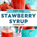 pinterest graphic of strawberry syrup