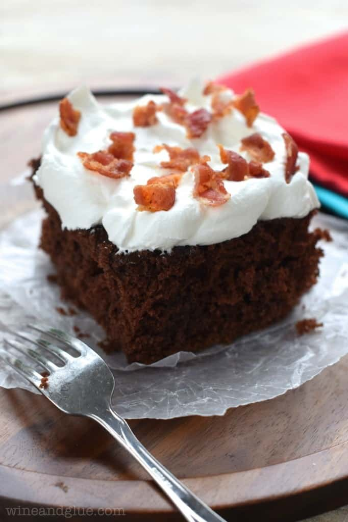 Chocolate Bacon Poke Cake | The perfect combination of salty and sweet, savory and ridiculously rich delicious.