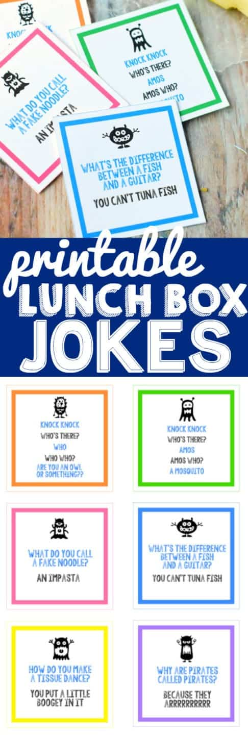 Printable Lunch Box Jokes that are perfect to send to school with your kiddo and will have them cracking up at the lunch table.