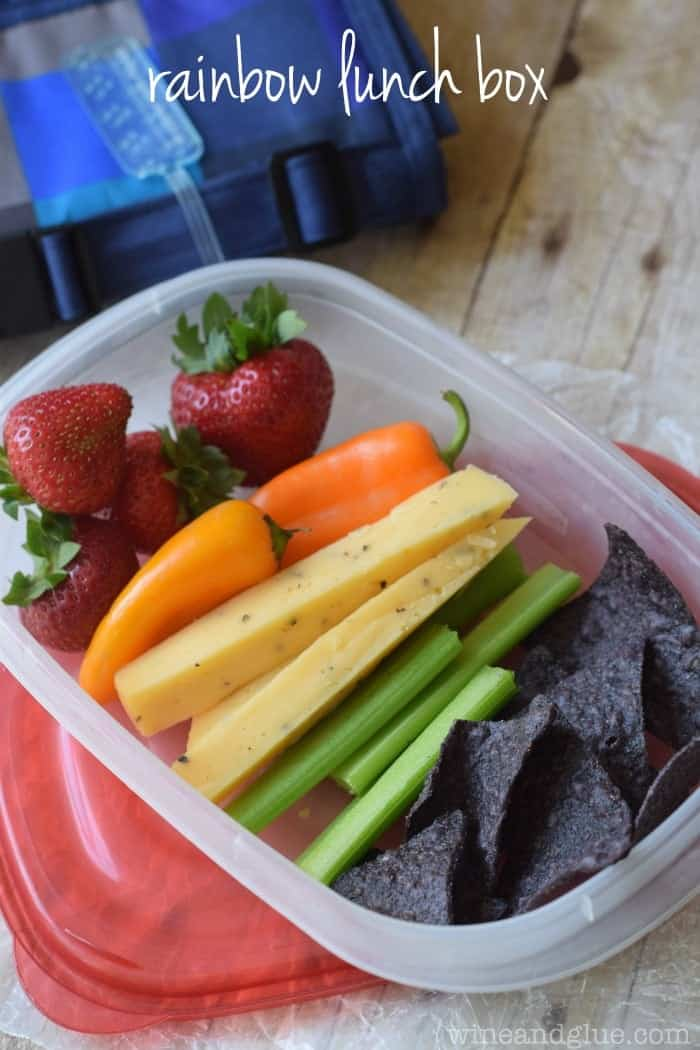 Rainbow Lunch Box | A really easy school lunch that brings fruits, veggies, cheese, and chips together!