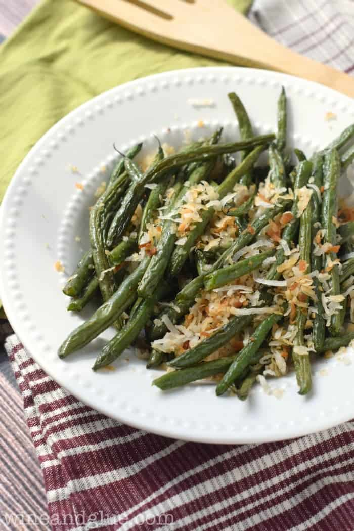 These Toasted Coconut Green Beans come together in a snap and make a perfect side dish!