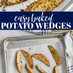 baked potato wedges that have been seasoned and are on a baking sheet