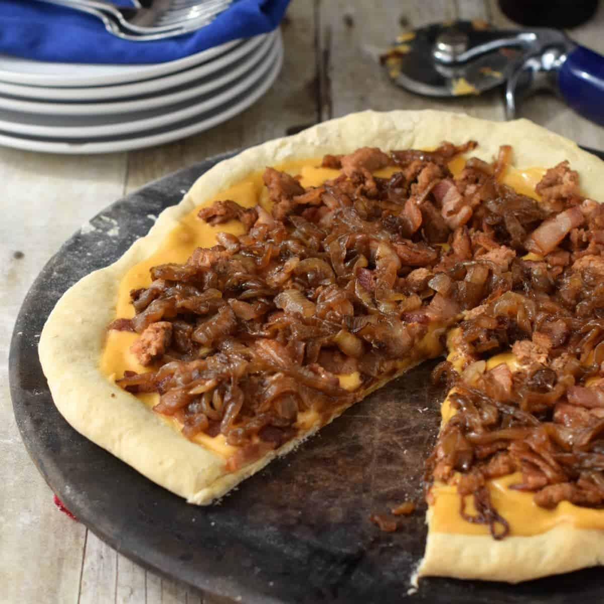 Wisconsin Beer Cheese Sauce Bacon Pizza