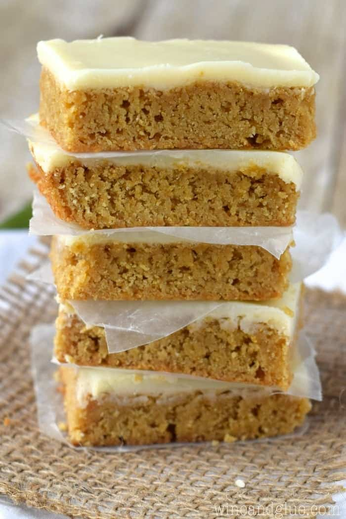 These Maple Frosted Blondies are ridiculous!  They are soft, sweet, and delicious and made that much more so when topped with a delicious maple frosting and white chocolate ganache!
