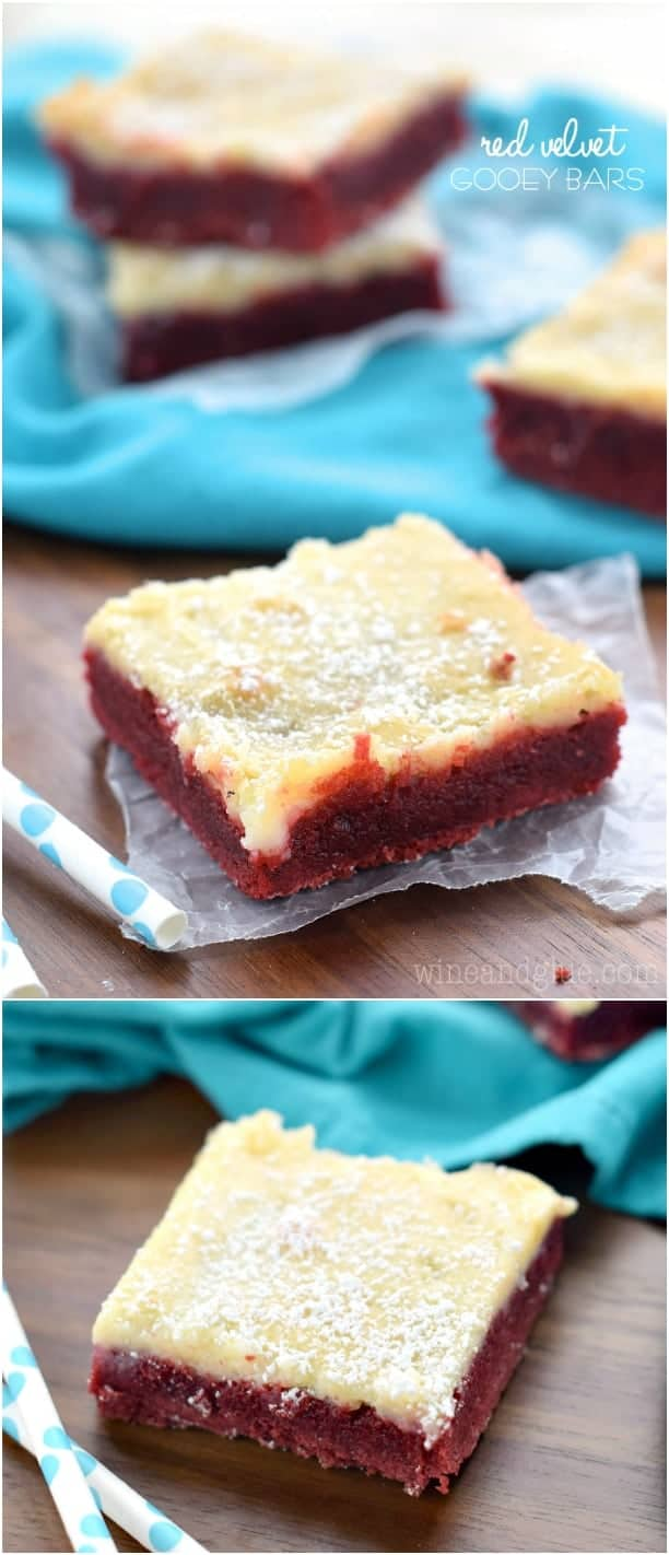 Delicious rich Red Velvet Gooey Bars from Red Velvet Lover's Cookbook!