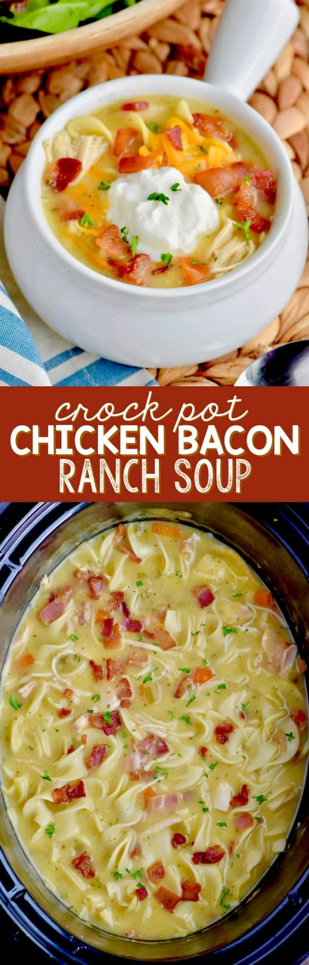 When life gets crazy, make this Crock Pot Chicken Bacon Ranch Soup! This soup takes so ten minutes to prepare!