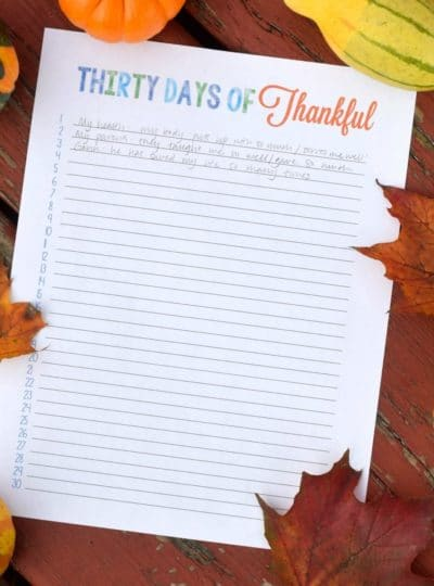 Thirty Days of Thankful Printable