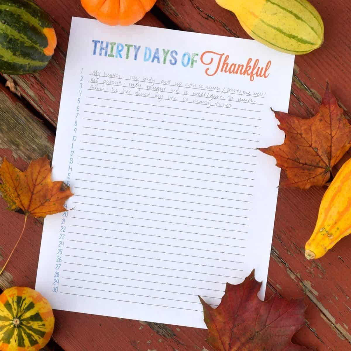 Thirty Days of Thankful Printable