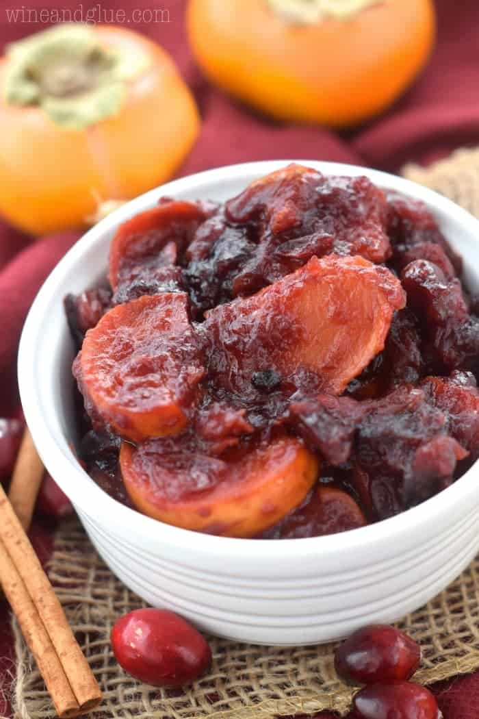 This Crock Pot Persimmon Cranberry Sauce has about five minutes of prep, cooks on it's own, and comes out absolutely delicious!