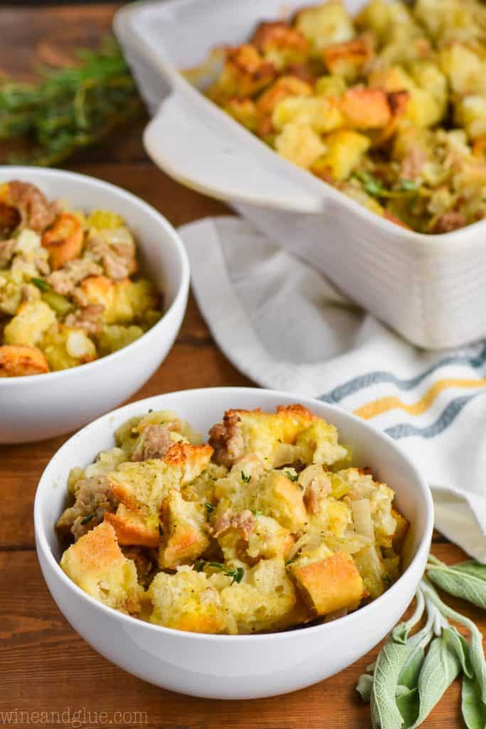 two bowls of turkey stuffing recipe