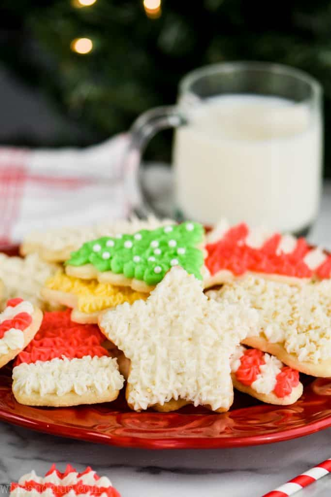 christmas sugar cookie recipe on a plate for santa