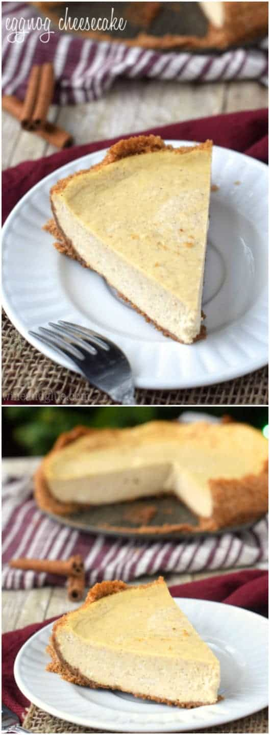 Eggnog Cheesecake | Delicious Eggnog Cheesecake with a perfect Cinnamon Graham Cracker Crust!