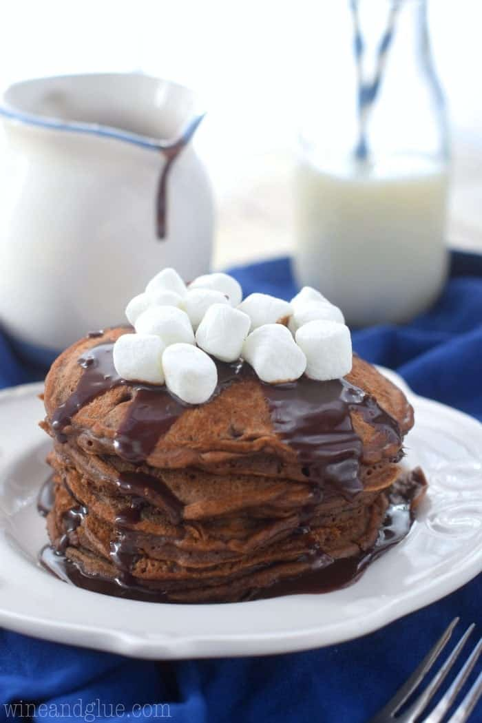 These Hot Cocoa Pancakes are a cocoa lover's dream! Perfect for a holiday breakfast or any Sunday!