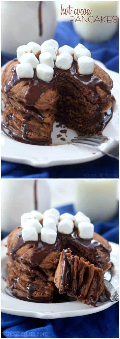 A collage of two photos: a stack of 5 pancakes topped with a chocolate drizzle and marshmallows.