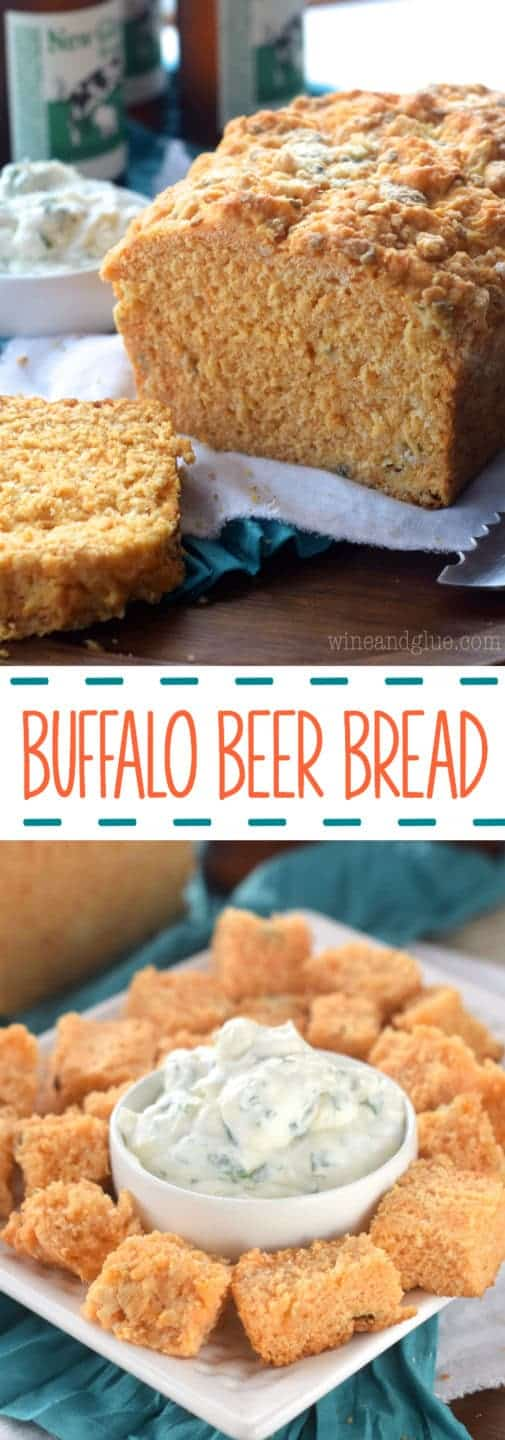 Your gameday spread needs this Buffalo Beer Bread and Light Ranch Dip! Such an easy no rise bread recipe!