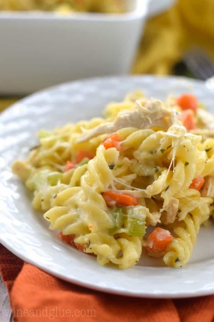 This Chicken Noodle Soup Casserole is the definition of comfort food! A perfect weeknight dinner!