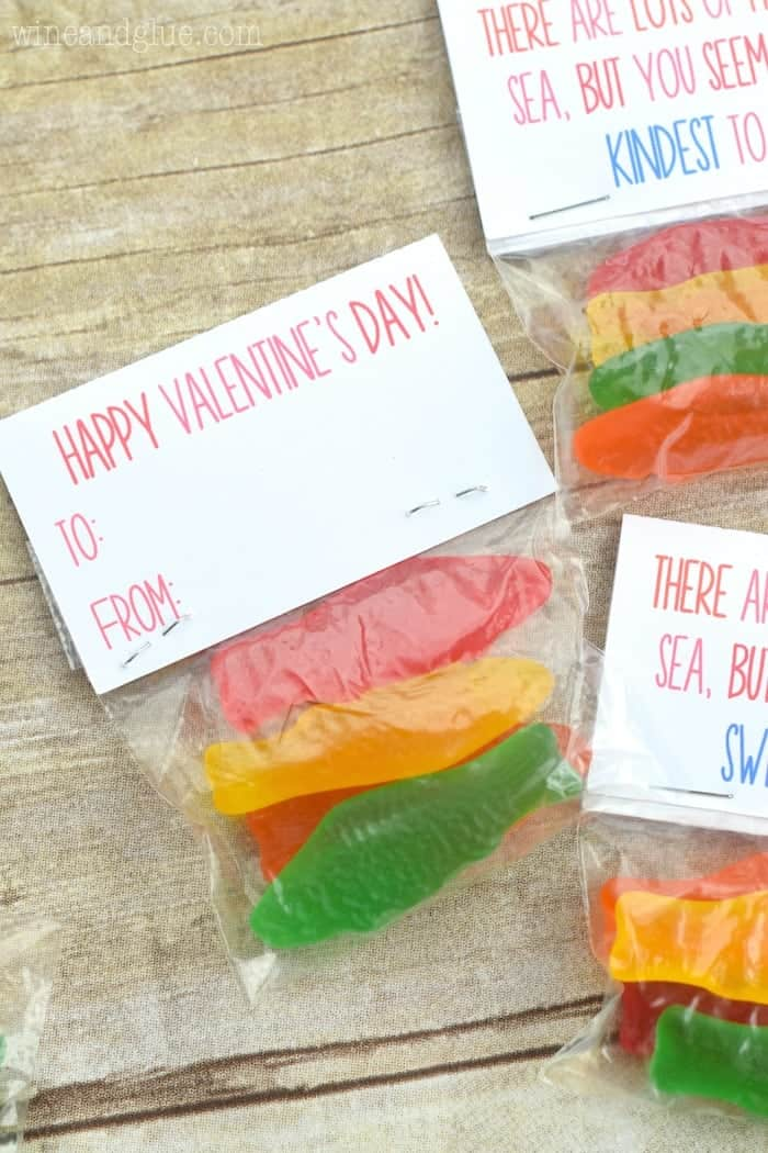 Adorable little tags, paired with fish candy, for a perfect homemade valentine!
