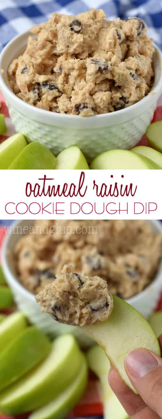 This Oatmeal Raisin Cookie Dough Dip is so simple to whip together, that it will quickly become your new favorite sweet dip for parties!
