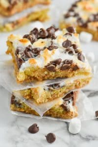 stack of s'mores magic cookie bars