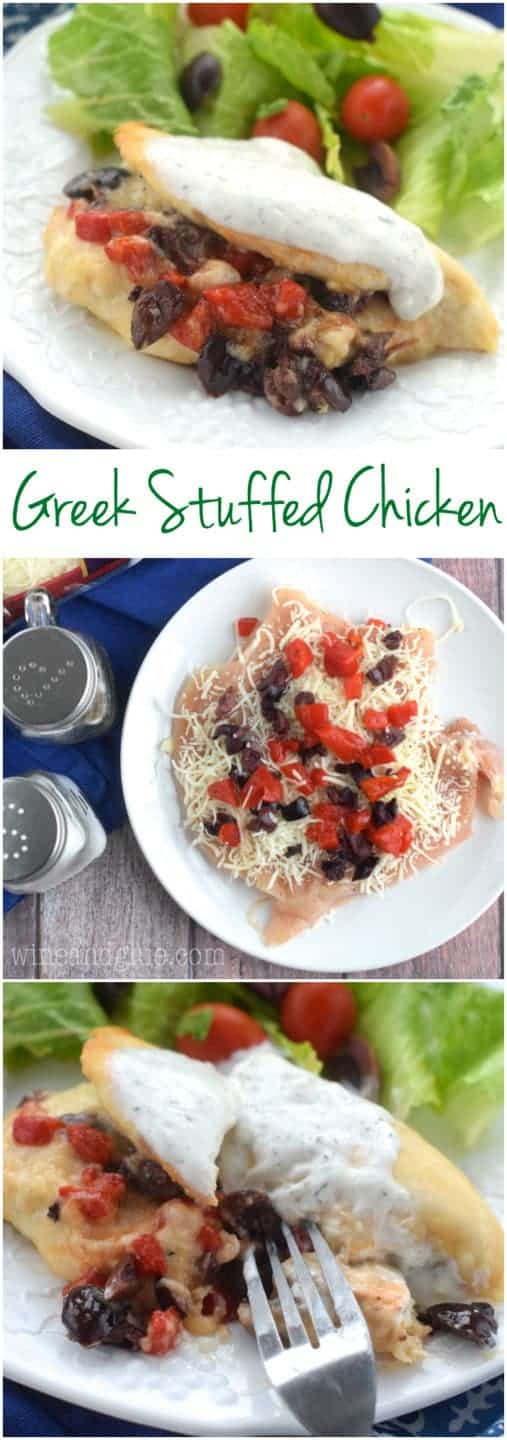 his Greek Stuffed Chicken is a fancy dinner that comes together easily!  It is jam packed with flavor!