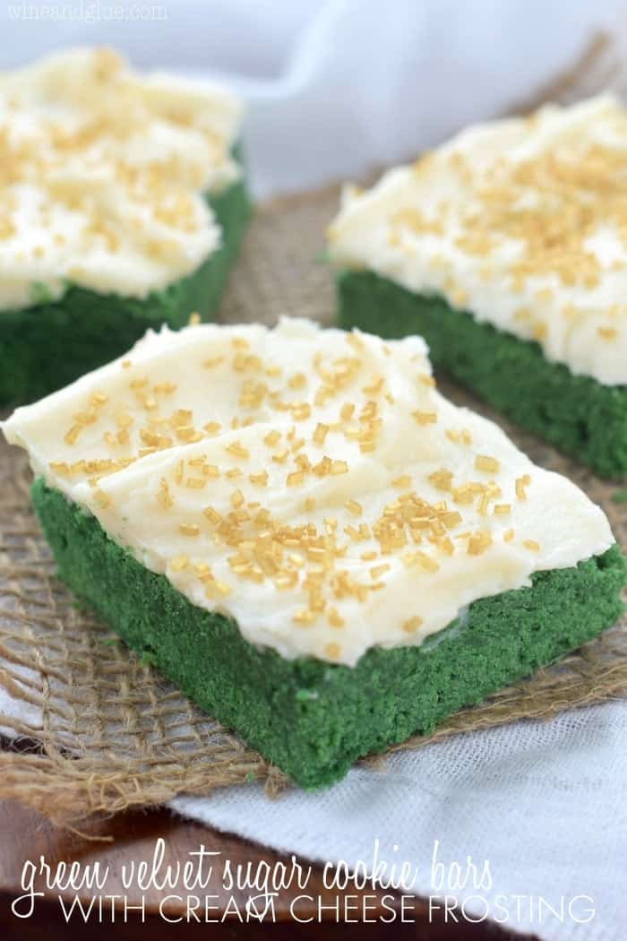 These Green Velvet Sugar Cookie Bars with Cream Cheese Frosting have have the amazing red velvet taste mixed with sugar cookie and could not be easier!