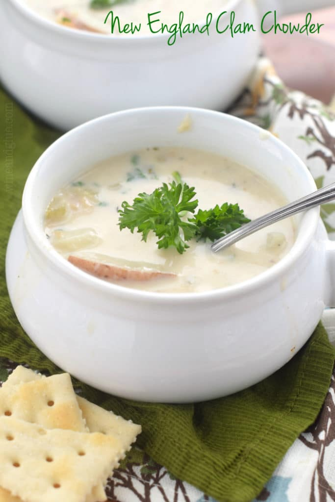 New England Clam Chowder will knock your socks off!  This easy chowder recipe makes perfect comfort food for a cold night.
