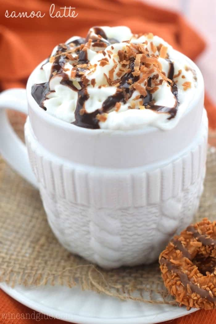 This Samoa Latte is your favorite Girl Scout cookie in latte form! Ummm, you're welcome.
