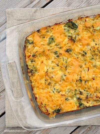 Broccoli Cheddar Hash Brown Bake