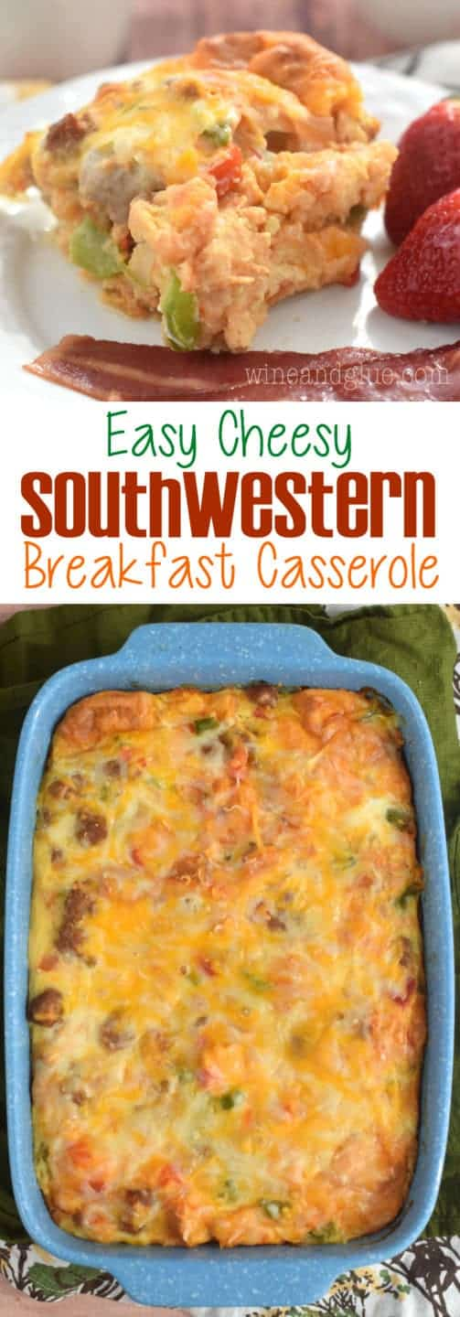 This Easy Cheesy Southwestern Breakfast Casserole comes together FAST and bakes up delicious! Perfect for Sunday brunch or a holiday weekend!