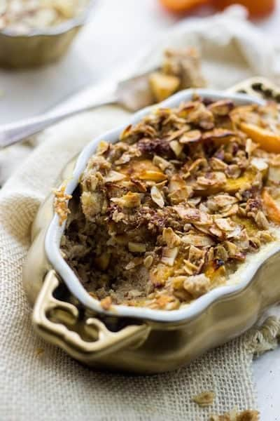 Healthy French Toast Bake with Peaches and Almond Streusel