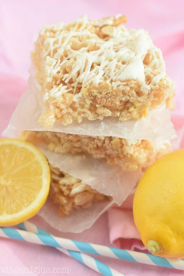 These Lemon Bar Rice Krispie Treats are your favorite treat in a deliciously lemon flavor!