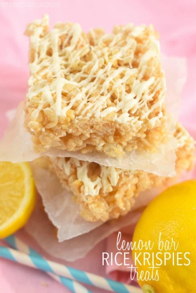 The Lemon Bar Rice Krispies Treats has a white lemon glaze on top.