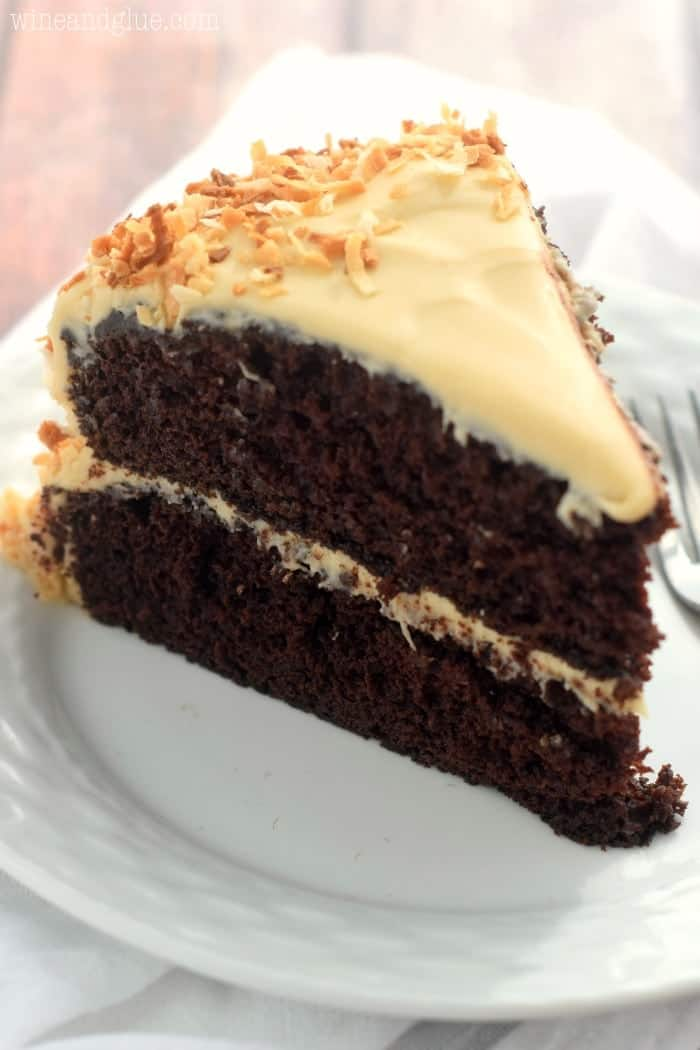 This Samoa Cake is the perfect combination of chocolate, caramel, and coconut. Moist, delicious, and perfectly rich!