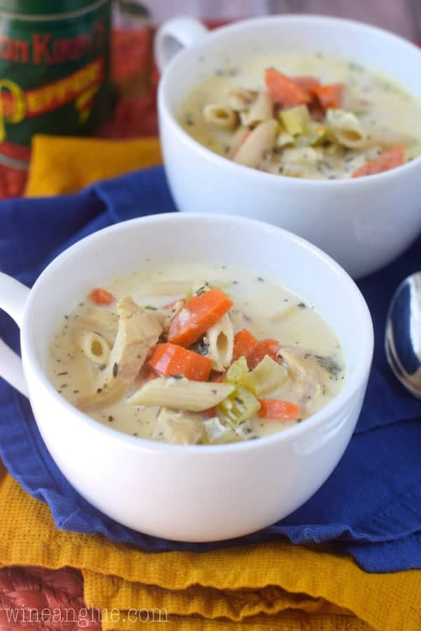 crock pot creamy chicken noodle soup  wine  glue