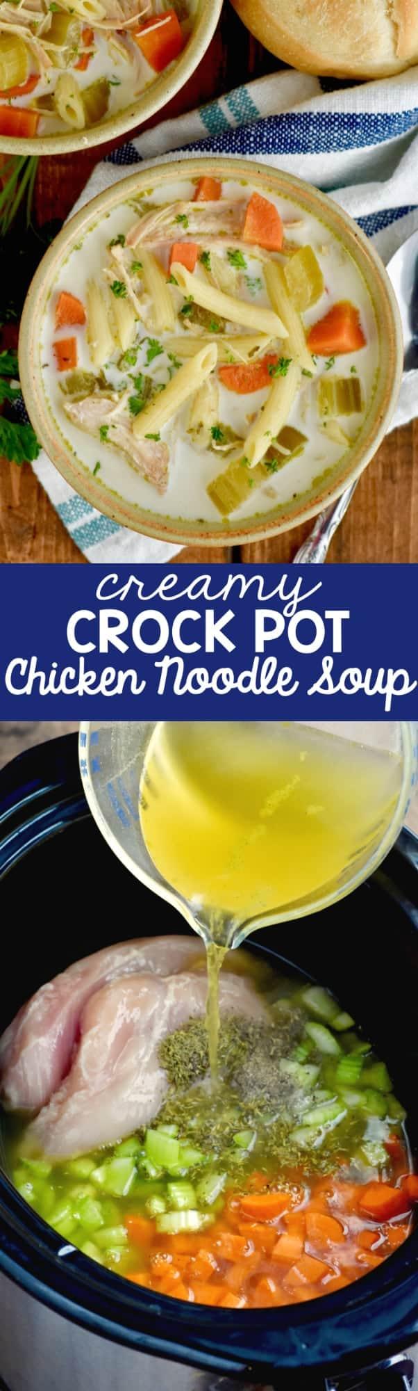 Creamy Crock Pot Chicken Noodle Soup Wine Glue