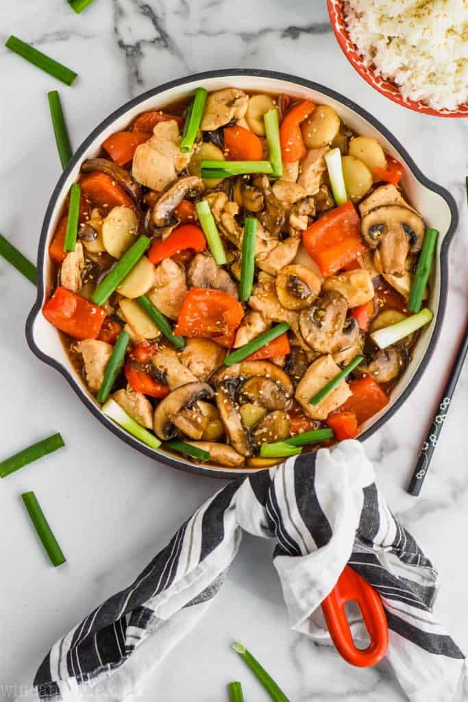 overhead view of chicken szechuan style in a skillet