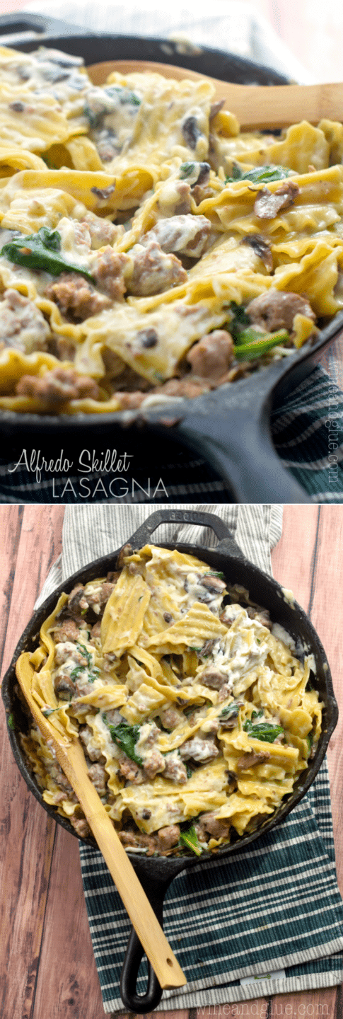This Alfredo Lasagna Skillet makes for a delicious and easy weeknight dinner!