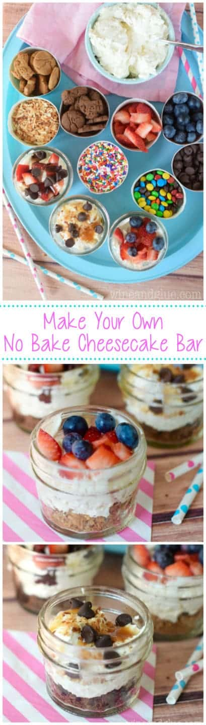 Make Your Own No Bake Cheesecake Bar!  A super fun idea for parties, and easy too!  Just make the filling, put out crackers for the crust and toppings and done!