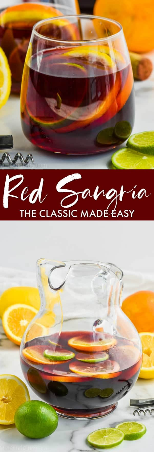 collage of pictures of red sangria recipe